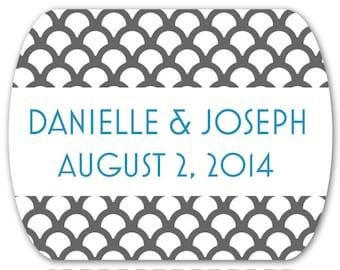 "Wedding Favor Stickers Personalized Custom Art Deco Mint Tin Labels - 2"" x 1.6"""