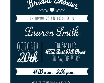 Bridal Shower Invitation Vintage Typography