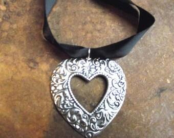 Silver Heart Necklace, choker, Victorian heart