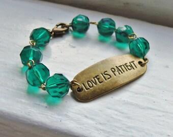 Emerald Bracelet. Love Bracelet. Bridal Jewelry. Bridal Bracelet. Green Bracelet. May Birthstone. Vintage Inspired Bracelet. Antique Bronze