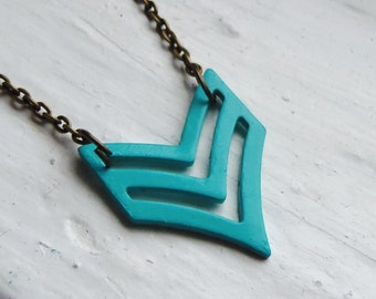 Turquoise Chevron Necklace. Tribal Necklace. Chevron Necklace. Military. Arrow Necklace. Teal. Modern. Simple