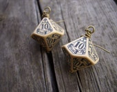D100 steampunk dice earrings dice jewelry dnd dungeons and dragons toothed bar pathfinder dice earrings steam punk earrings