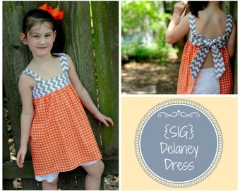 INSTANT DOWNLOAD SIG Delaney Dress/Top Pattern - Size Newborn to 8 Youth