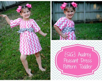 INSTANT Download SIG Audrey Peasant Dress with Sash Pattern eBook - size 3T to 6 Youth, Toddler