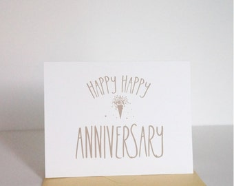 Anniversary Card, Golden Anniversary, Love Card, Gold Happy Anniversary Card by dodeline