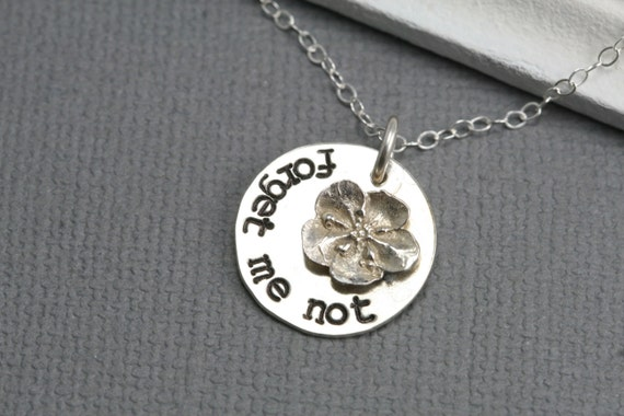 Forget Me Not Handstamped Neclace - Sterling Silver Charm -  Forget Me Not Flower - Simple Motivational Necklace - LDS Inspired Necklace