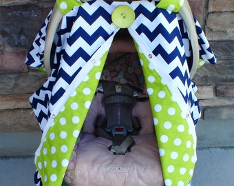 FREE SHIPPING Navy Blue Chevron Stripe Carseat Canopy