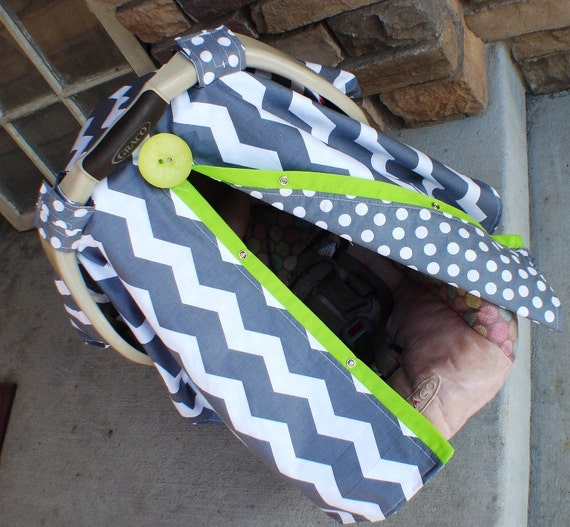 Carseat Canopy Chevron stripe and lime trim / carseat cover / car seat cover / car seat canopy / nursing cover
