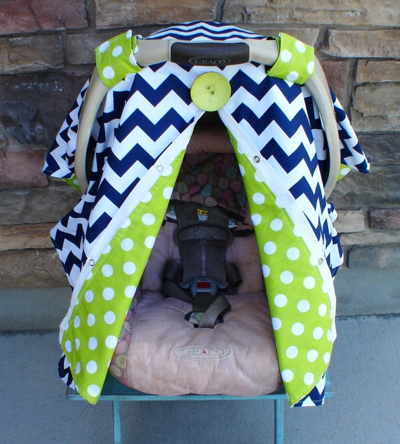 FREE SHIPPING Navy Blue Chevron Stripe Carseat Canopy / car seat cover / nursing cover / carseat canopy / carseat cover