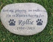 PERSONALIZED Pet Dog Memorial 11-12 Inch Memorial Burial Cemetery Stone Pet Memorial Grave Marker
