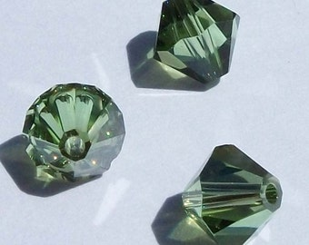 Clearance -- 6mm Swarovski Crystal Beads 6mm Bicone crystal beads PERIDOT SATIN -- 10 pieces