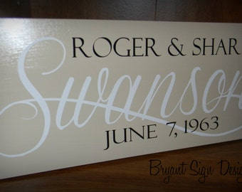 "CUSTOM family name wood sign - great for wedding or anniversary gifts ""Swanson Sign"""