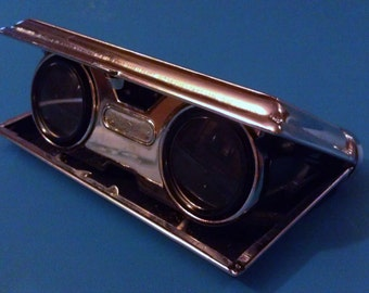 Vintage Leather Encased Coated Lens Folding Opera Glasses
