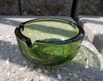 Vintage Green Glass Retro Ashtray