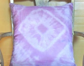 Silk Pillow Cover, Cushion Cover, Shibori Patterned, Handmade Dyed With Natural Dye, Red Cabbage, Purple Pink