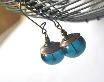 Teal Bubble Earrings, Light Weight Hollow Glass Earrings, Glass Earrings, Teal Earrings, Simple Earrings