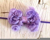 Infant Headband- Small Lavender Lace Bow- Baby Headband- Toddler Headband- Skinny Matching Headband