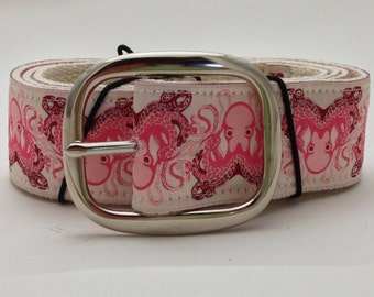Pink Octopi Ribbon Belt with Pin Buckle