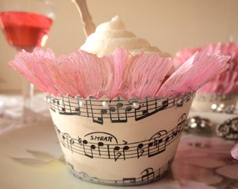 Musical Sugar. 12 Antique Sheet Music Cupcake Wrappers with Pink Ruffles