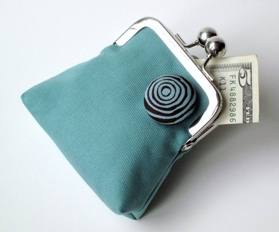 Aquamarine dark brown coin purse with matching button and lining... finest organic cotton twill fabrics