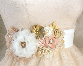 Wedding Sash, Blush Sash, Ivory, Gold, Tan, Brooch Sash, Feathers, Crystals, Lace, Pearls, Elegant, Vintage Wedding