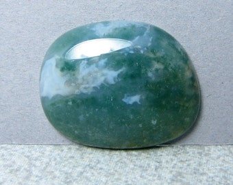 Moss Agate Cabochon - Green White Yellow - Stone Cabochon - 31 by 25 mm