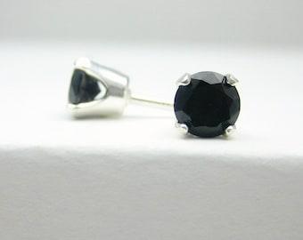 Black Spinel Sterling Silver Stud Earrings - 3 mm 4 mm - Post Earrings - Spinel Earrings - Spinel Gemstone