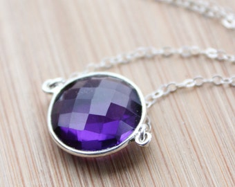 Silver Purple Amethyst Quartz Necklace - February Birthstone Necklace