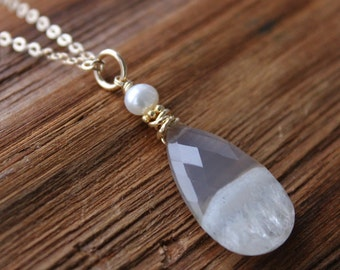 Gold Champagne Agate Druzy Pearl Necklace