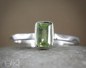 Regal Elegance - Silver Green Peridot Rectangular Ring - August Birthstone, Grecian Goddess