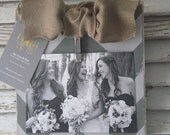 Distressed 4x6 Grey on Grey Chevron Frame with Burlap Bow Great Bridesmaids Gift for your Rustic Wedding