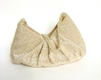vintage beaded bag   ...  creamy white   ...  glass bead  purse  ...  evening bag