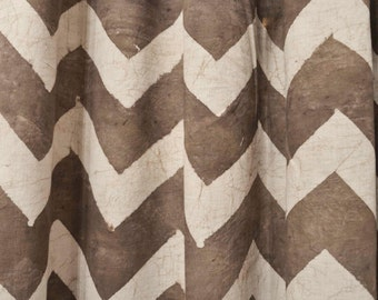 """Chevron Window Curtains Taupe - ONE Panel 44""""w x 84""""/108"""" Window Treatment-Block Printed, Natural Hand Dyed, Cotton, Window Panel *ON SALE*"""
