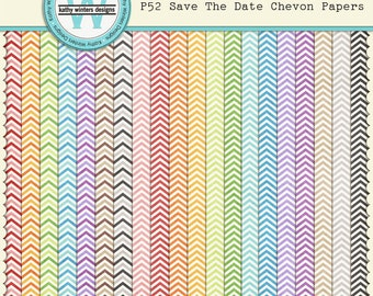 P52 Save The Date Chevron Papers Digital Scrapbooking