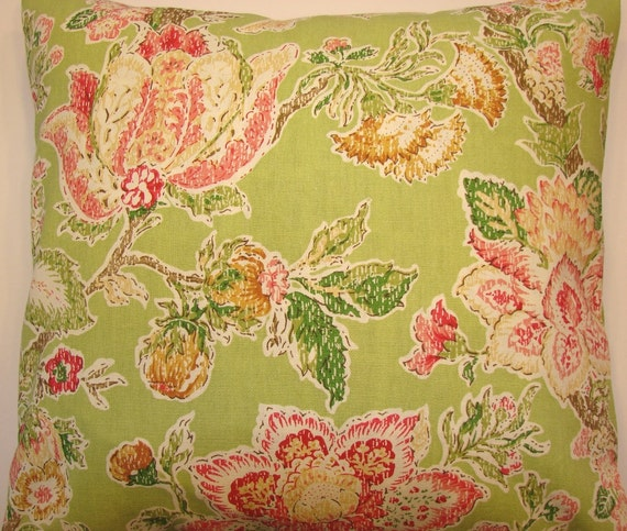 """Decorative Pillow Cover in Green and Pink Floral, Cottage Chic Decor, 18"""" Pillow Cover, Flower Pillow Cover, Bedroom Pillow Sham Cover"""