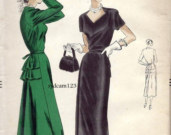 Vintage 1949 Shaped Neckline Double Back Peplum Dress...Short or Long Sleeves...Vogue 6214 Bust 32