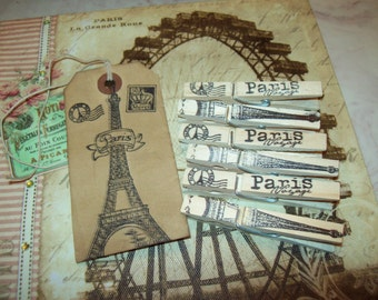 Paris decor handstamped Paris and Eiffel tower clothes pins shabby chic,French decor,wedding decor