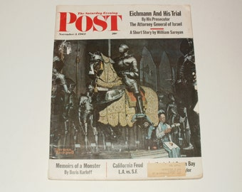 Vintage Saturday Evening Post Magazine November 3 1962 - Norman Rockwell Cover - Vintage Car Ads - Scrapbooking Retro