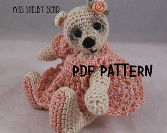 Amigurumi Artist, Bear Pattern,  Miss Shelby, in Thread Crochet  3 inches tall,
