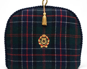 Tea Cozy/Cosy -Vintage Scottish Wool with Embroidered Crest - Gold Tassel /Navy Braid