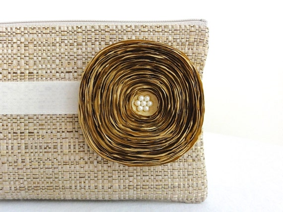 Tan Clutch with Ivory Ribbon and Handmade Gold Satin Flower