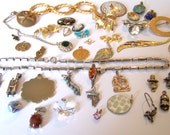 Vintage Jewelry Lot for Wear Repair Restyle, Pendants Brooches Necklace, Some Signed