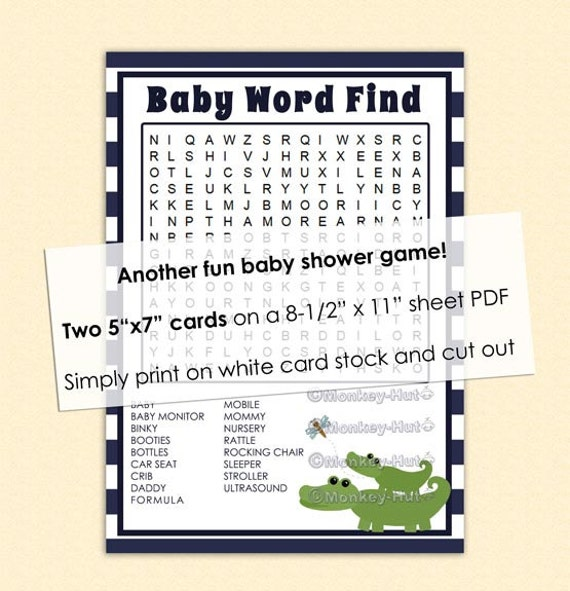 baby shower game word find alligator blue striped crocodile mommy amp