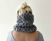 Chunky Cowl Scarf / Lace Knit Snood / Grey Cowl Scarf / Handmade Cowl / Infinity Scarf / Circle Scarf / Grey / Gift for Her / Womens Gift