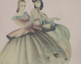 Antique Victorian Ladies Walking with Parasol