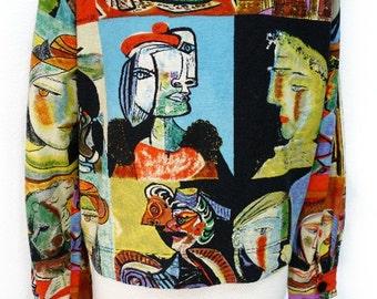 Vintage Linen Jacket Kaktus Picasso Art deco Faces Blazer Women M