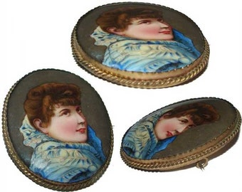 Free Shipping 19c. Hand Painted NOUVEAU LADY Large Miniature Painting on Porcelain Brooch