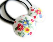 Button Ponytail Holders - Red and Blue Flowers on White