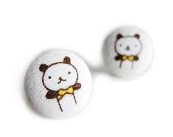 Clip On Earrings / Stud Earrings / Fabric Button Earrings - panda earrings