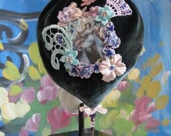 Floral Lace Beaded Silk Velvet Fairy Handbag